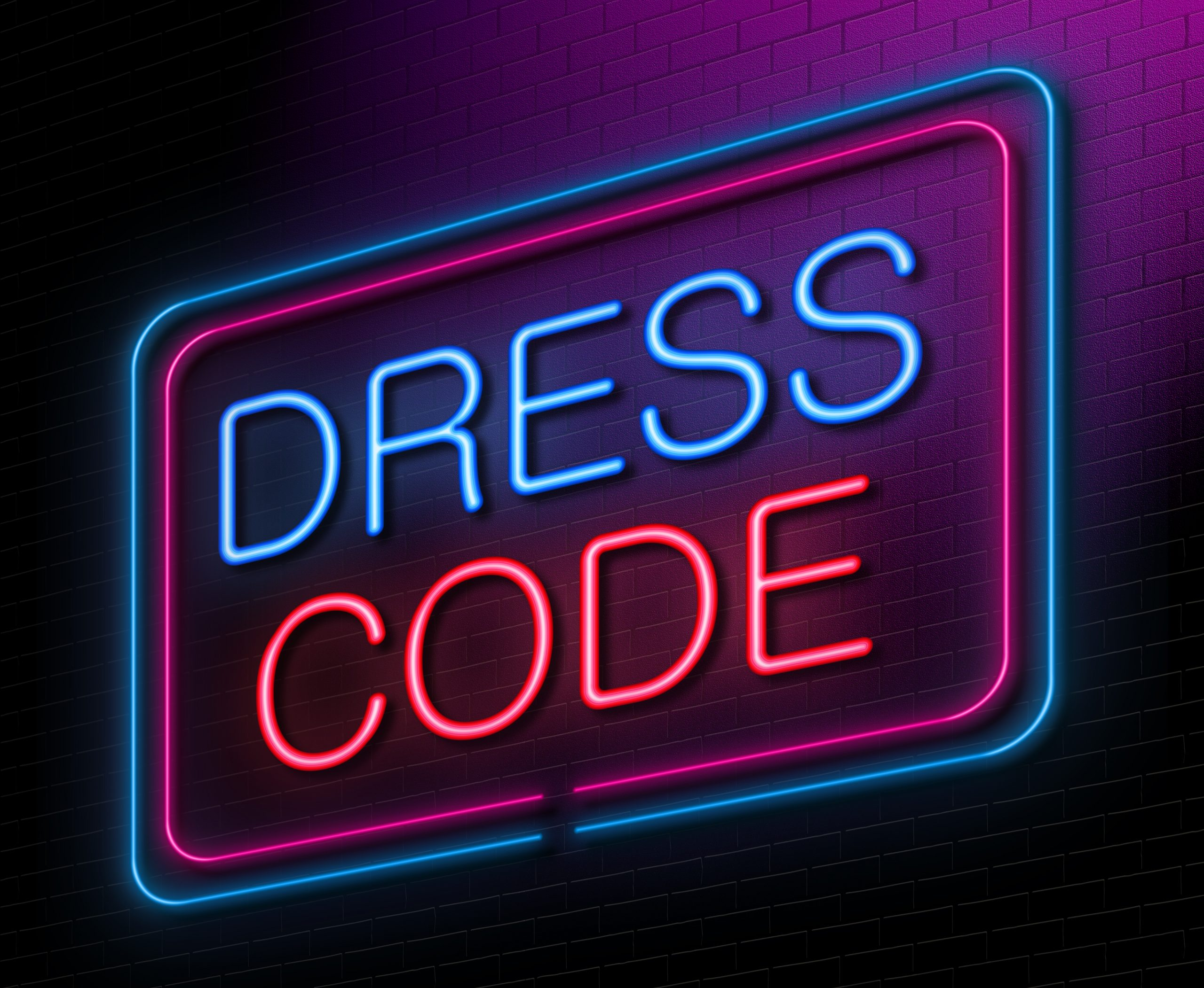 Illustration,Depicting,An,Illuminated,Neon,Sign,With,A,Dress,Code